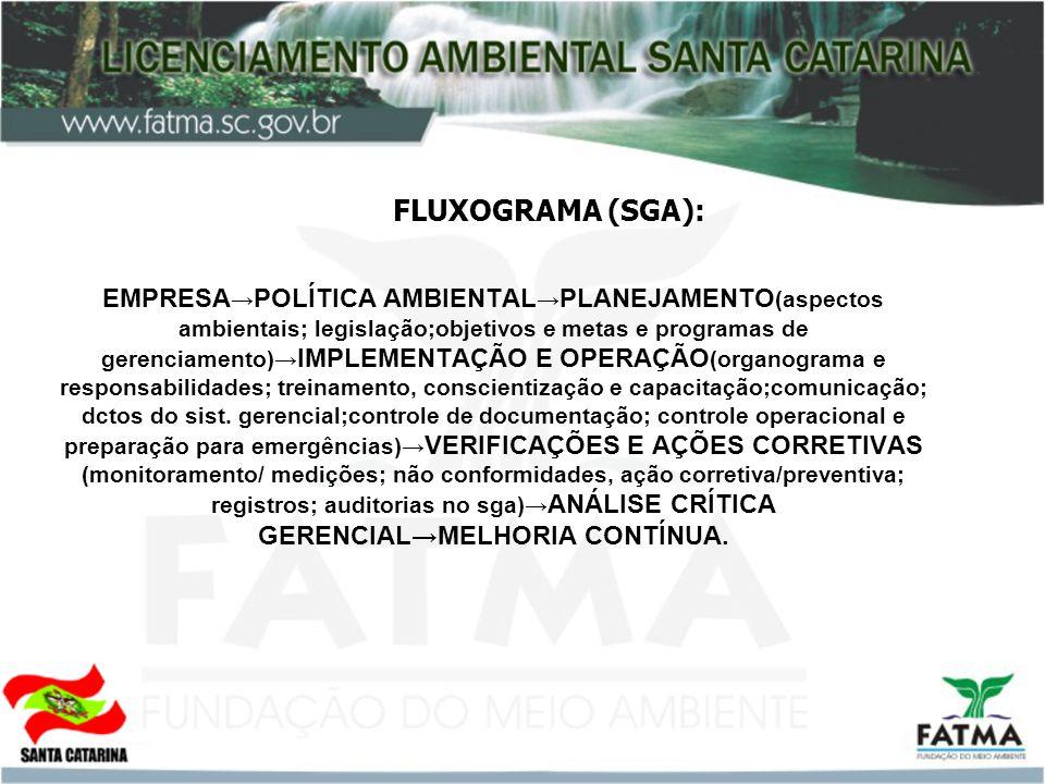 FLUXOGRAMA (SGA): EMPRESA POLÍTICA AMBIENTAL PLANEJAMENTO (aspectos ambientais; legislação;objetivos e metas e programas de gerenciamento) IMPLEMENTAÇÃO E OPERAÇÃO (organograma e responsabilidades; treinamento, conscientização e capacitação;comunicação; dctos do sist.