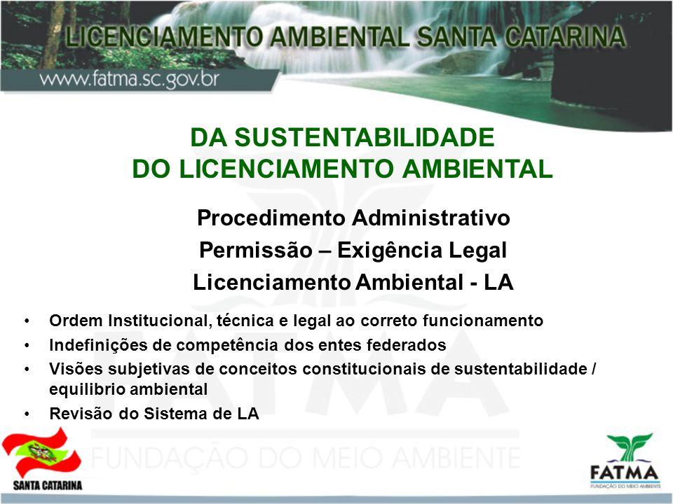 DA SUSTENTABILIDADE DO LICENCIAMENTO AMBIENTAL Procedimento Administrativo Permissão – Exigência Legal Licenciamento Ambiental - LA Ordem Instituciona