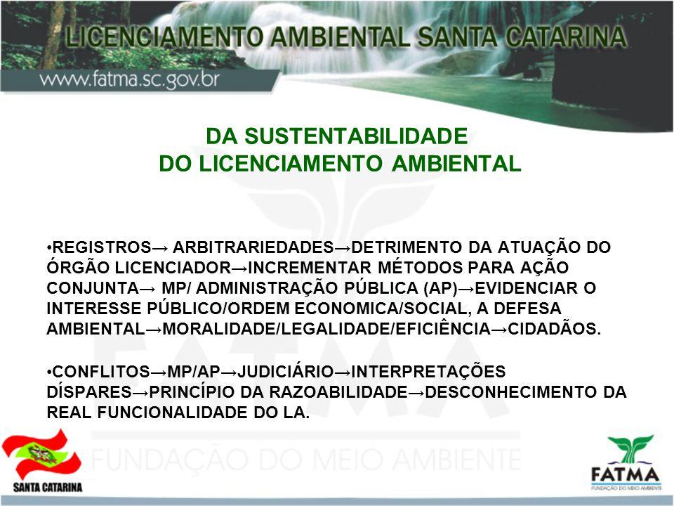 DA SUSTENTABILIDADE DO LICENCIAMENTO AMBIENTAL REGISTROS ARBITRARIEDADESDETRIMENTO DA ATUAÇÃO DO ÓRGÃO LICENCIADORINCREMENTAR MÉTODOS PARA AÇÃO CONJUNTA MP/ ADMINISTRAÇÃO PÚBLICA (AP)EVIDENCIAR O INTERESSE PÚBLICO/ORDEM ECONOMICA/SOCIAL, A DEFESA AMBIENTALMORALIDADE/LEGALIDADE/EFICIÊNCIACIDADÃOS.