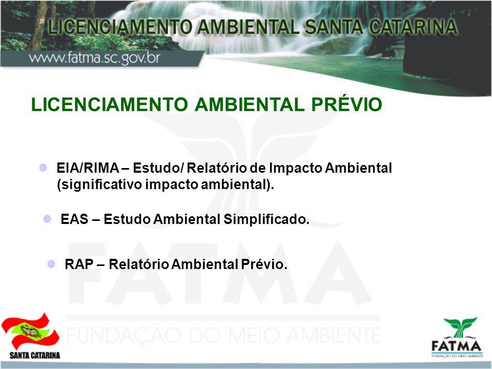 LICENCIAMENTO AMBIENTAL PRÉVIO EIA/RIMA – Estudo/ Relatório de Impacto Ambiental (significativo impacto ambiental). EAS – Estudo Ambiental Simplificad