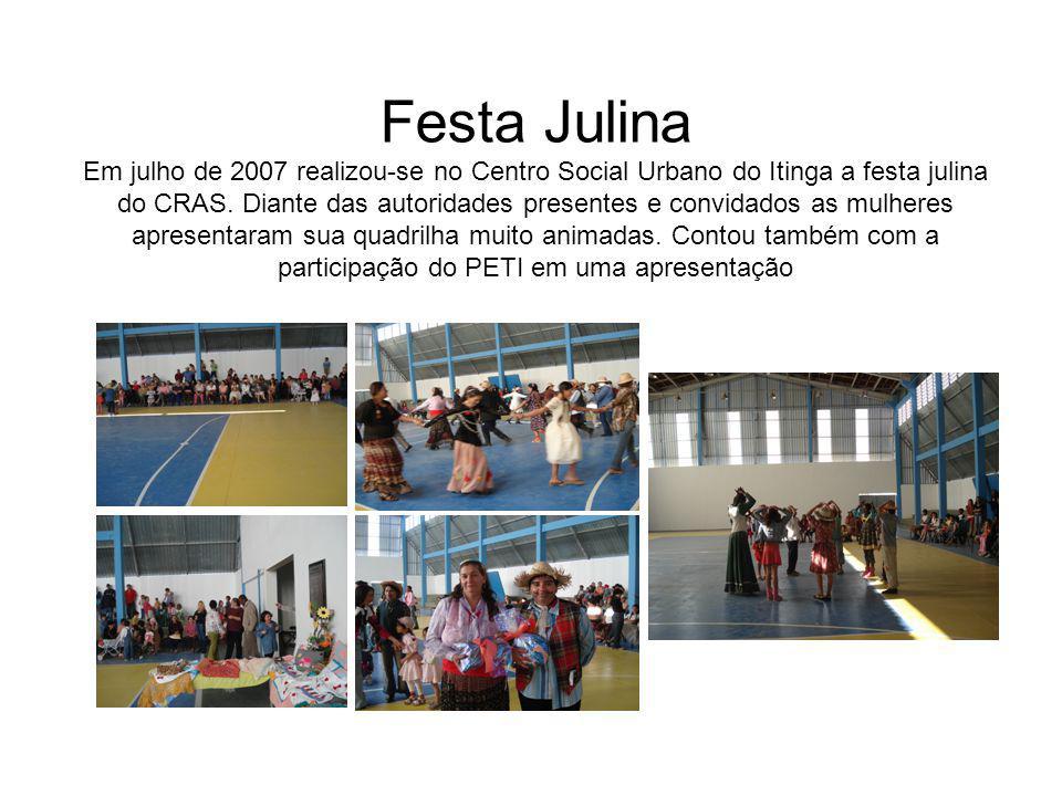 Festa Julina Em julho de 2007 realizou-se no Centro Social Urbano do Itinga a festa julina do CRAS. Diante das autoridades presentes e convidados as m