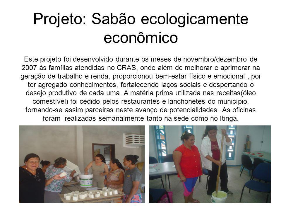 Projeto: Sabão ecologicamente econômico Este projeto foi desenvolvido durante os meses de novembro/dezembro de 2007 às famílias atendidas no CRAS, ond