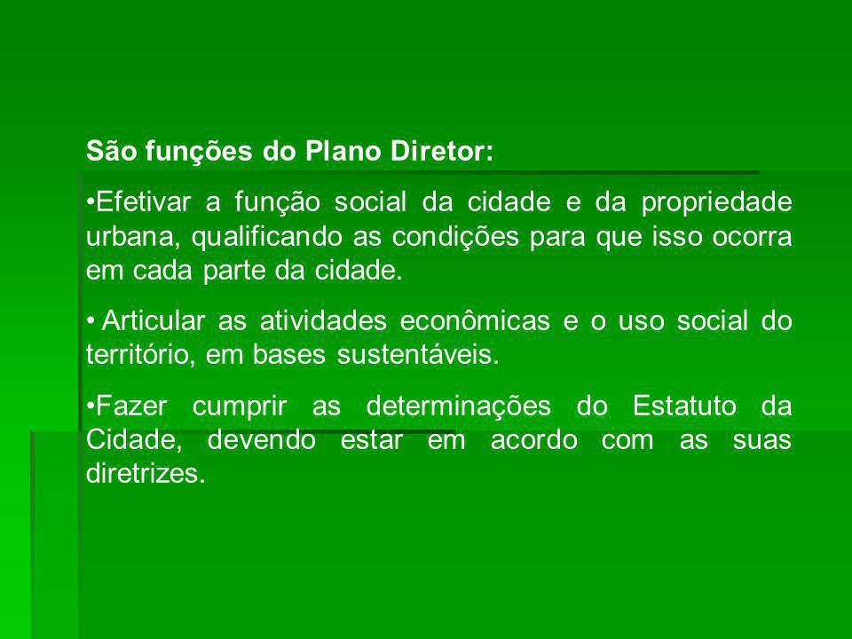 São funções do Plano Diretor: Efetivar a função social da cidade e da propriedade urbana, qualificando as condições para que isso ocorra em cada parte da cidade.