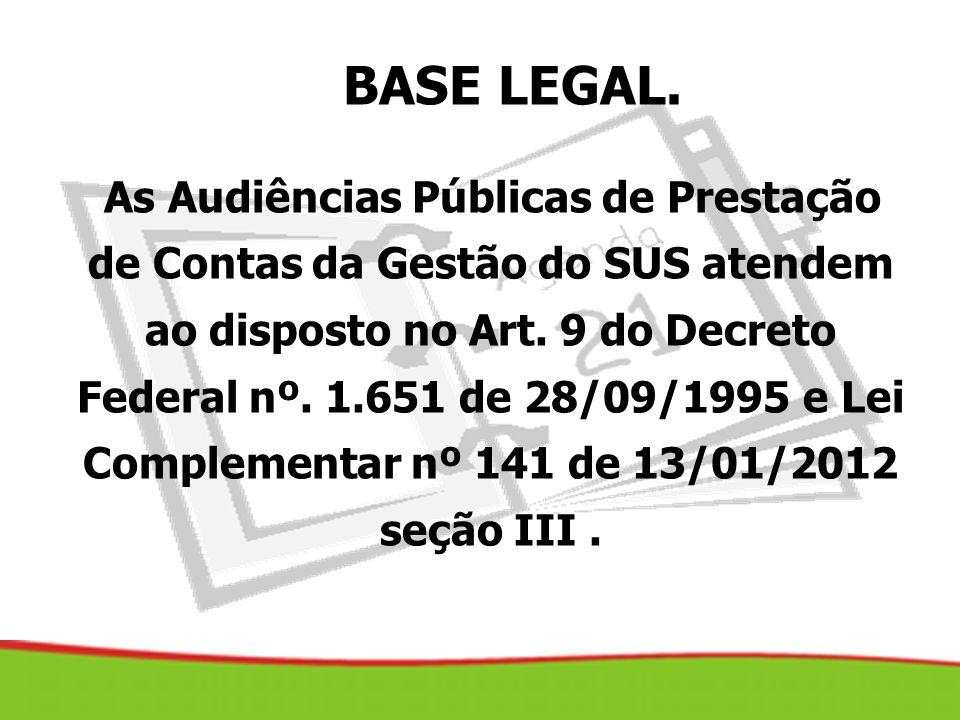 As Audiências Públicas de Prestação de Contas da Gestão do SUS atendem ao disposto no Art. 9 do Decreto Federal nº. 1.651 de 28/09/1995 e Lei Compleme