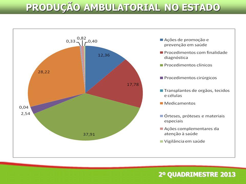 2º QUADRIMESTRE 2013 PRODUÇÃO AMBULATORIAL NO ESTADO