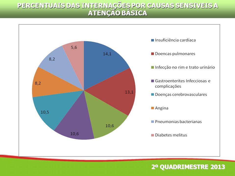 2º QUADRIMESTRE 2013 PERCENTUAIS DAS INTERNAÇÕES POR CAUSAS SENSIVEIS A ATENÇÃO BÁSICA