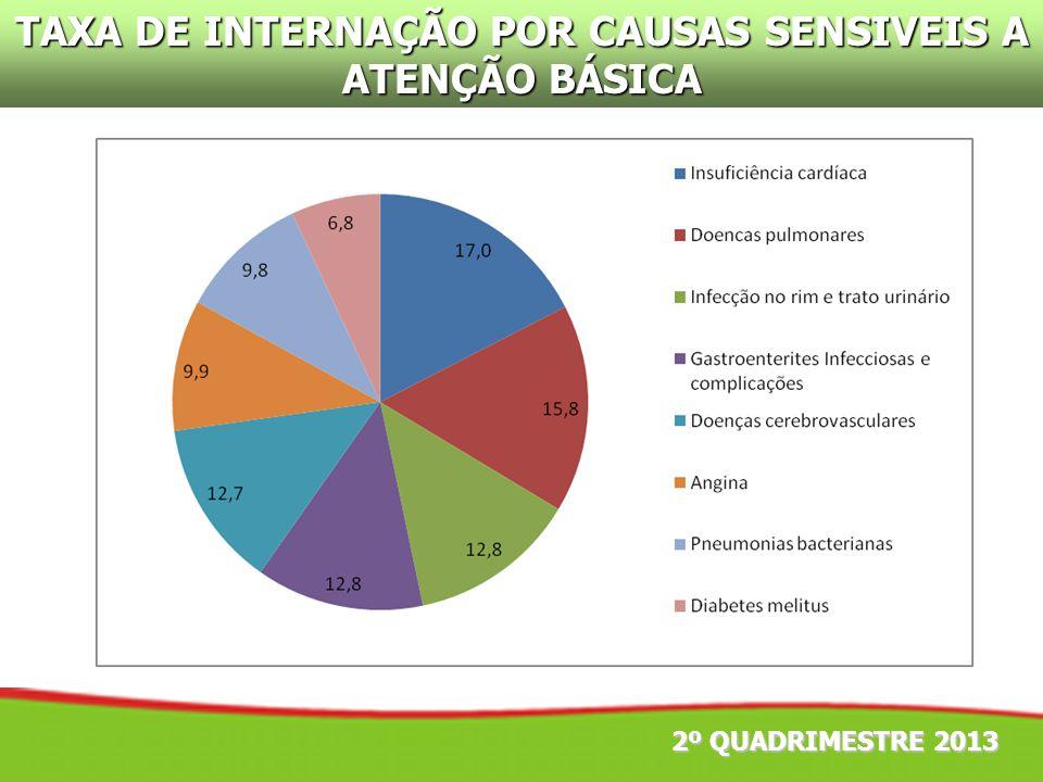 2º QUADRIMESTRE 2013 TAXA DE INTERNAÇÃO POR CAUSAS SENSIVEIS A ATENÇÃO BÁSICA