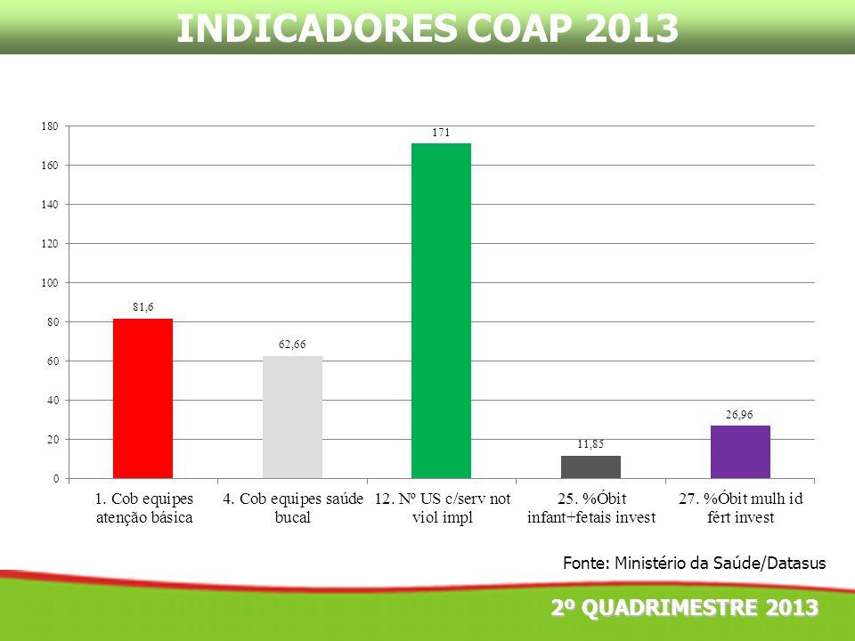 INDICADORES COAP 2013 2º QUADRIMESTRE 2013 Fonte: Ministério da Saúde/Datasus