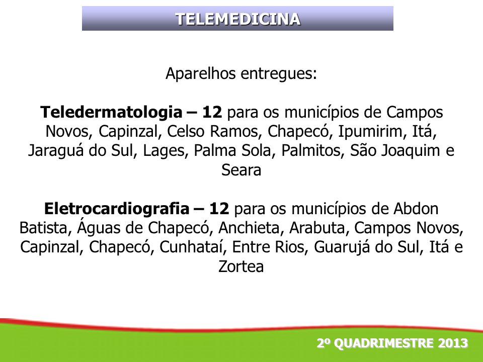 TELEMEDICINA Aparelhos entregues: Teledermatologia – 12 para os municípios de Campos Novos, Capinzal, Celso Ramos, Chapecó, Ipumirim, Itá, Jaraguá do