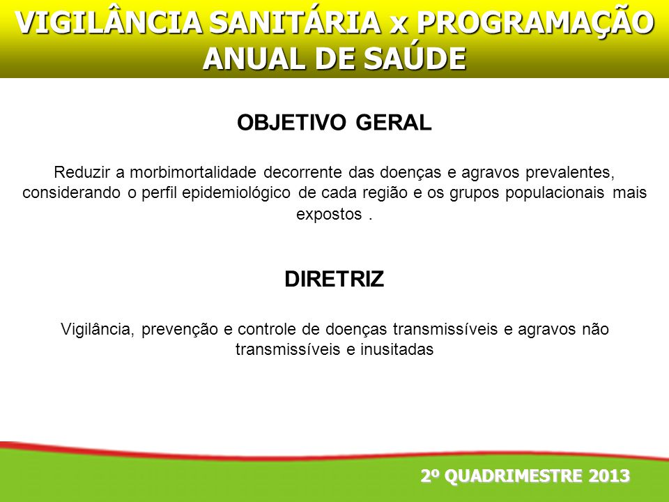 VIGILÂNCIA SANITÁRIA x PROGRAMAÇÃO ANUAL DE SAÚDE DIRETRIZ Vigilância, prevenção e controle de doenças transmissíveis e agravos não transmissíveis e i