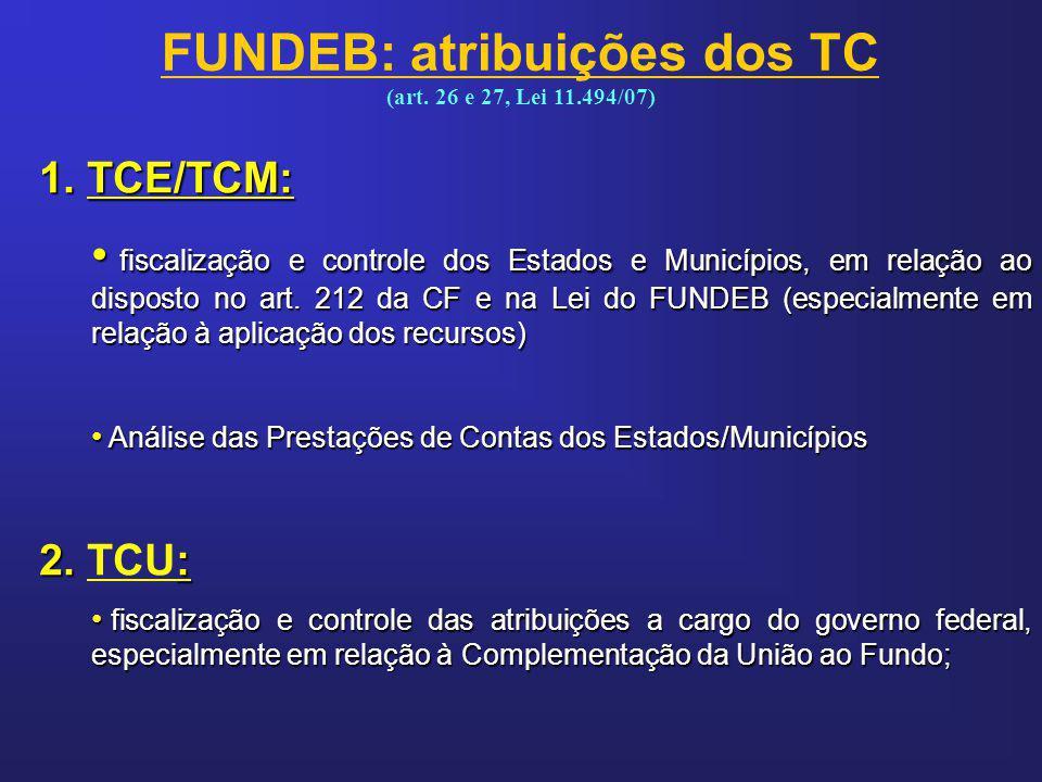 1. TCE/TCM: fiscalização e controle dos Estados e Municípios, em relação ao disposto no art. 212 da CF e na Lei do FUNDEB (especialmente em relação à