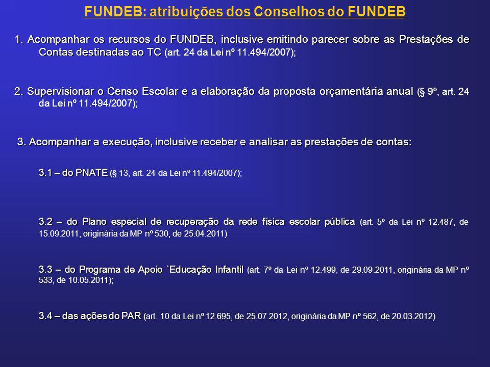 1. Acompanhar os recursos do FUNDEB, inclusive emitindo parecer sobre as Prestações de Contas destinadas ao TC 1. Acompanhar os recursos do FUNDEB, in