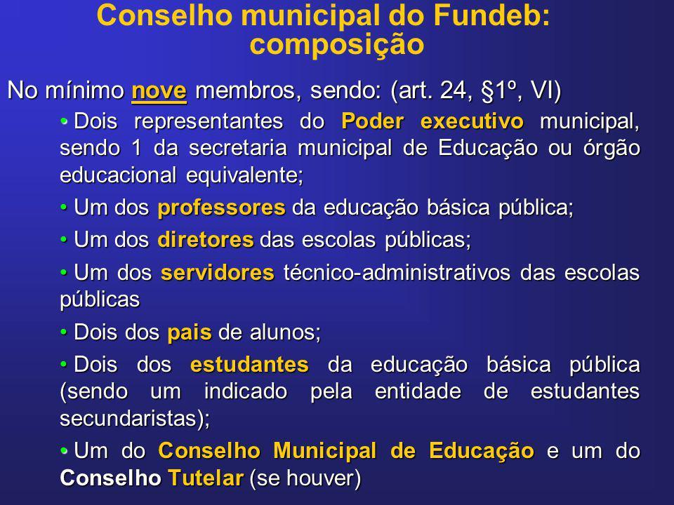 Conselho municipal do Fundeb: composição No mínimo nove membros, sendo: (art. 24, §1º, VI) Dois representantes do Poder executivo municipal, sendo 1 d