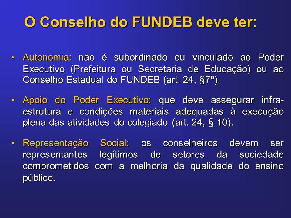 O Conselho do FUNDEB deve ter: Autonomia: não é subordinado ou vinculado ao Poder Executivo (Prefeitura ou Secretaria de Educação) ou ao Conselho Esta
