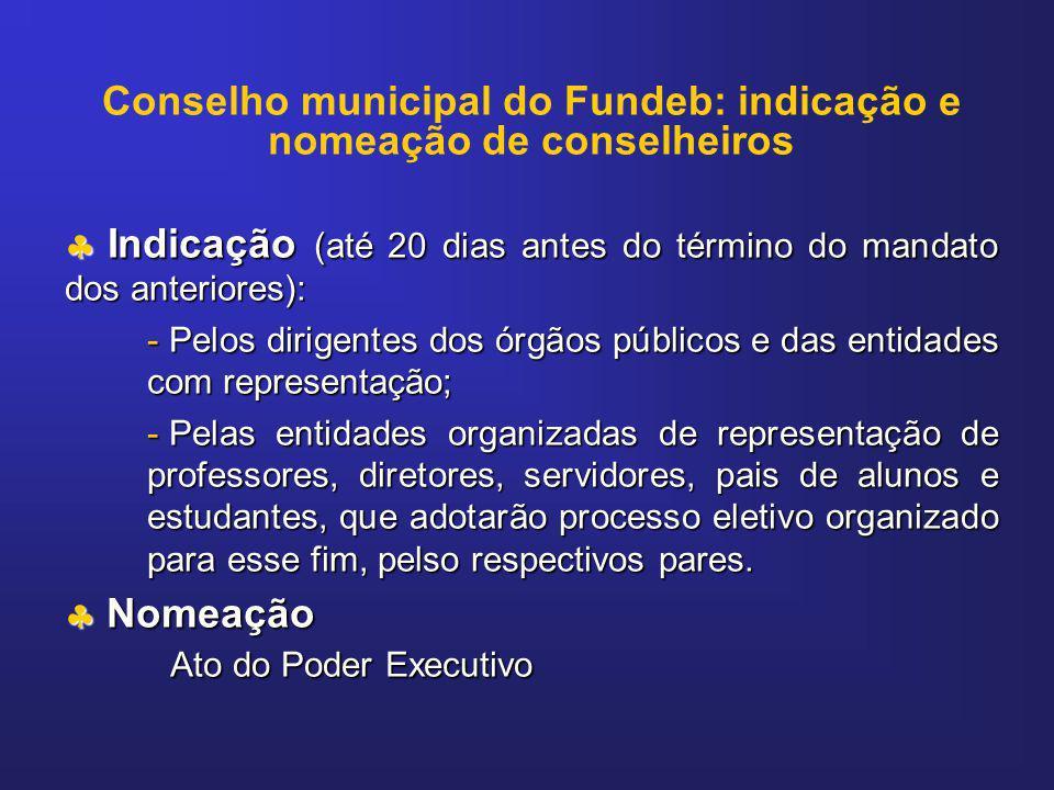 Conselho municipal do Fundeb: indicação e nomeação de conselheiros Indicação (até 20 dias antes do término do mandato dos anteriores): Indicação (até