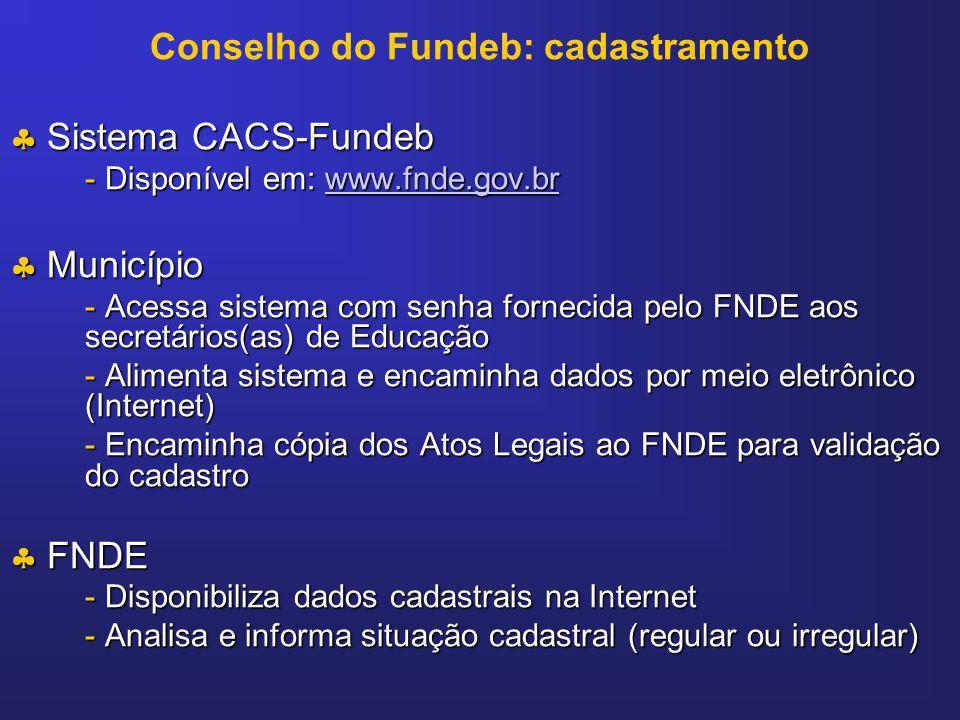 Conselho do Fundeb: cadastramento Sistema CACS-Fundeb Sistema CACS-Fundeb - Disponível em: www.fnde.gov.br www.fnde.gov.br Município Município - Acess