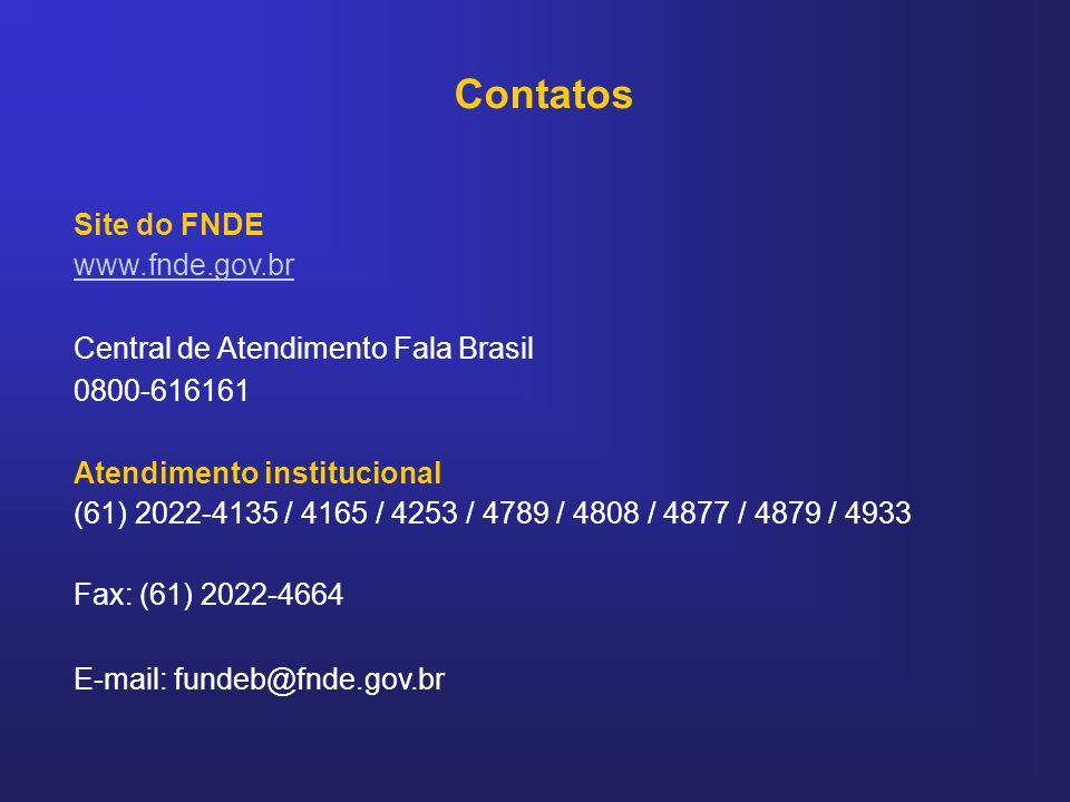 Contatos Site do FNDE www.fnde.gov.br Central de Atendimento Fala Brasil 0800-616161 Atendimento institucional (61) 2022-4135 / 4165 / 4253 / 4789 / 4