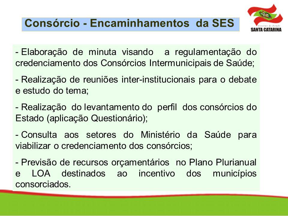 - Elaboração de minuta visando a regulamentação do credenciamento dos Consórcios Intermunicipais de Saúde; - Realização de reuniões inter-instituciona