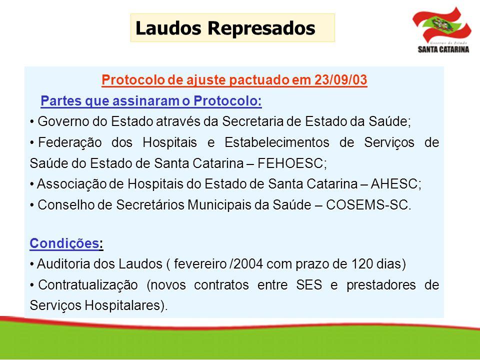 Laudos Represados Protocolo de ajuste pactuado em 23/09/03 Partes que assinaram o Protocolo: Governo do Estado através da Secretaria de Estado da Saúd