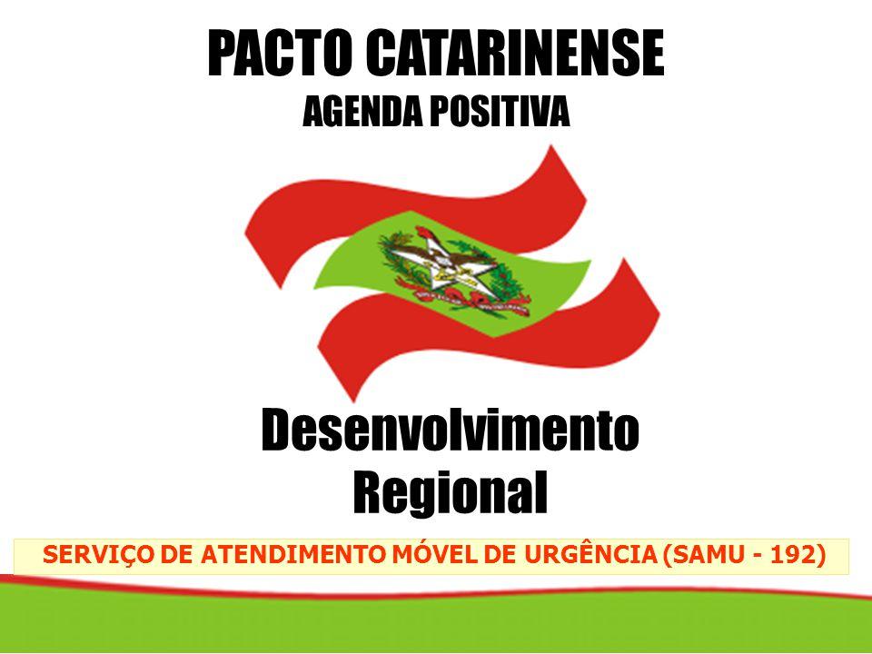 SERVIÇO DE ATENDIMENTO MÓVEL DE URGÊNCIA (SAMU - 192) PACTO CATARINENSE AGENDA POSITIVA Desenvolvimento Regional