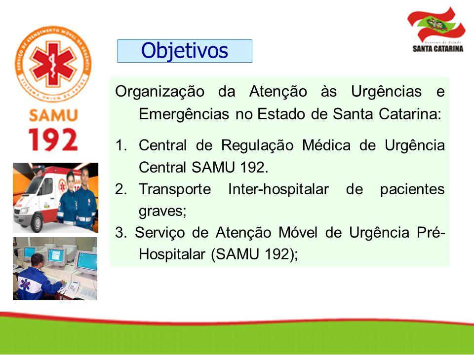 Organização da Atenção às Urgências e Emergências no Estado de Santa Catarina: 1.Central de Regulação Médica de Urgência Central SAMU 192. 2.Transport