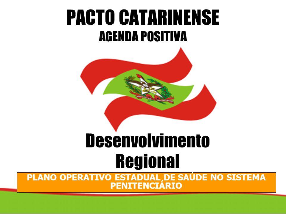PLANO OPERATIVO ESTADUAL DE SAÚDE NO SISTEMA PENITENCIÁRIO PACTO CATARINENSE AGENDA POSITIVA Desenvolvimento Regional
