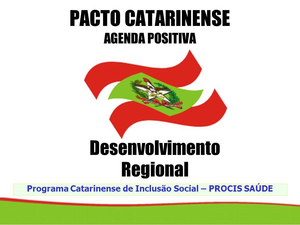 Programa Catarinense de Inclusão Social – PROCIS SAÚDE PACTO CATARINENSE AGENDA POSITIVA Desenvolvimento Regional