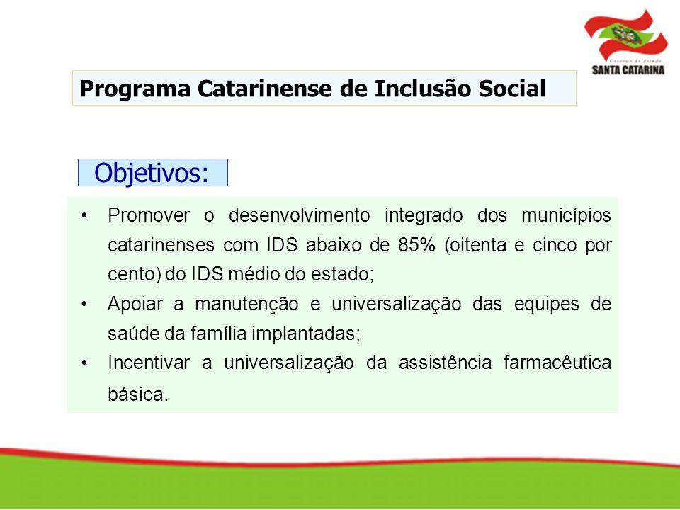 Promover o desenvolvimento integrado dos municípios catarinenses com IDS abaixo de 85% (oitenta e cinco por cento) do IDS médio do estado; Apoiar a ma