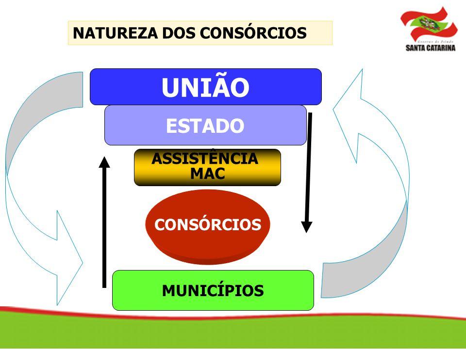 NATUREZA DOS CONSÓRCIOS ESTADO CONSÓRCIOS ASSISTÊNCIA MAC UNIÃO MUNICÍPIOS