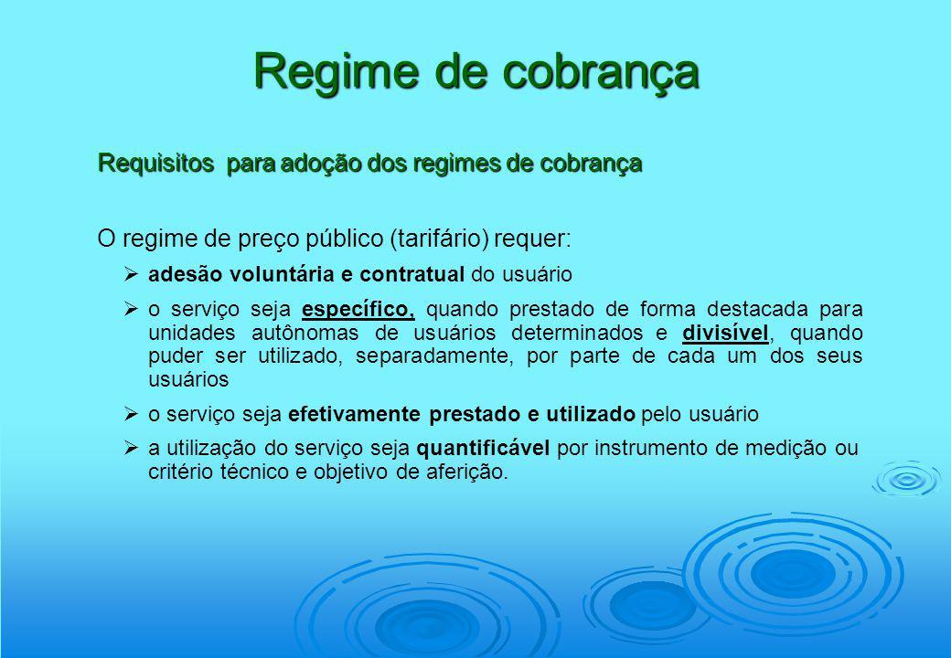 Regime de cobrança Requisitos para adoção dos regimes de cobrança O regime de preço público (tarifário) requer: adesão voluntária e contratual do usuá