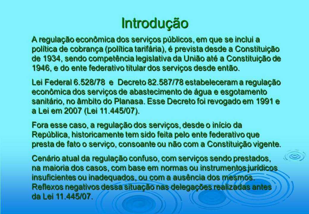 Introdução A Lei nº 11.445, de 05 janeiro de 2007, instituiu as diretrizes normativas nacionais para o saneamento básico e a Política Federal de Saneamento Básico.
