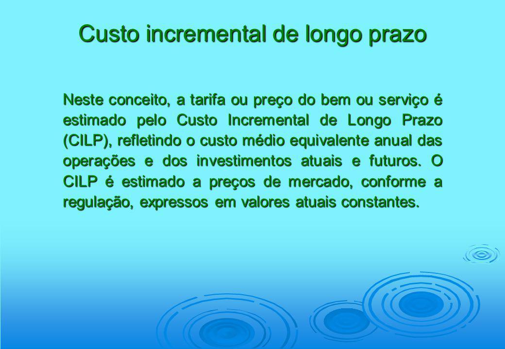 Neste conceito, a tarifa ou preço do bem ou serviço é estimado pelo Custo Incremental de Longo Prazo (CILP), refletindo o custo médio equivalente anua