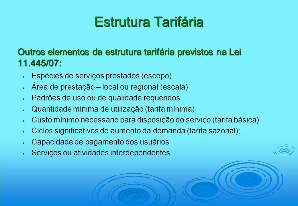 Estrutura Tarifária Outros elementos da estrutura tarifária previstos na Lei 11.445/07: Espécies de serviços prestados (escopo) Área de prestação – lo
