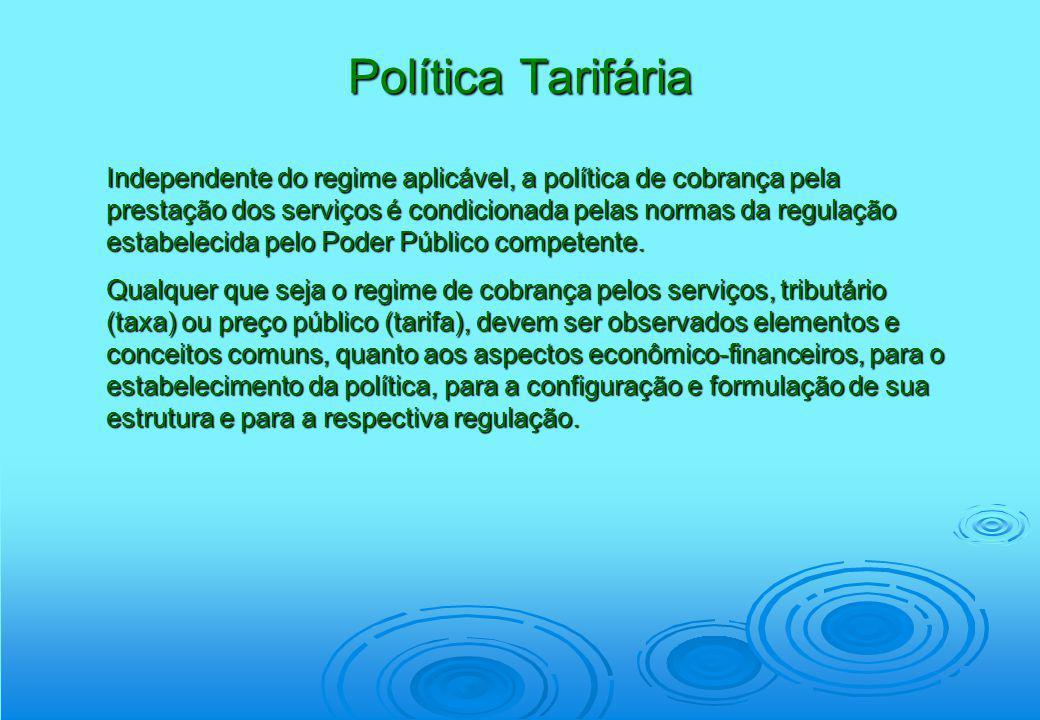 Política Tarifária Independente do regime aplicável, a política de cobrança pela prestação dos serviços é condicionada pelas normas da regulação estab