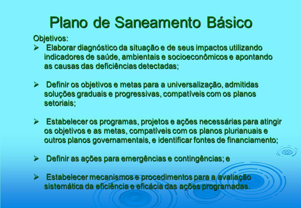 Plano de Saneamento Básico Objetivos: Elaborar diagnóstico da situação e de seus impactos utilizando indicadores de saúde, ambientais e socioeconômico