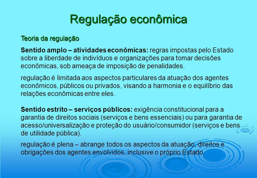 Regulação econômica Teoria da regulação Sentido amplo – atividades econômicas: regras impostas pelo Estado sobre a liberdade de indivíduos e organizaç