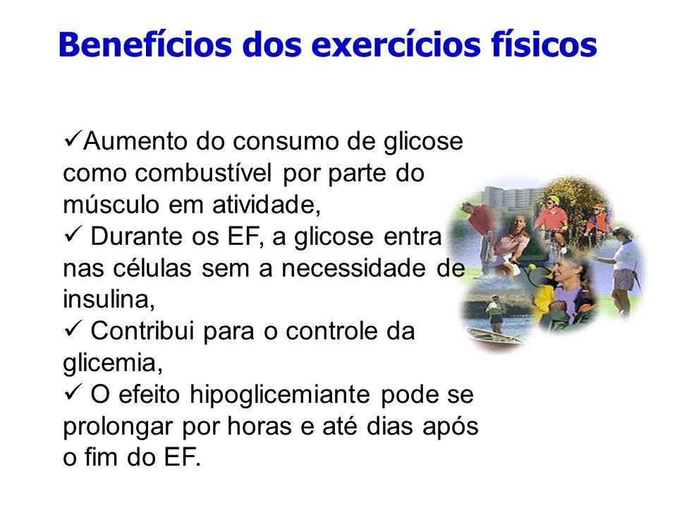 Benefícios do exercício físico Melhora o condicionamento cardiorrespiratório, Reduz fatores de risco cardiovasculares, por diminuição da PA e dos lipídeos, Melhor utilização da insulina, tanto endógena quanto exógena, Diminuição das doses dos medicamentos.