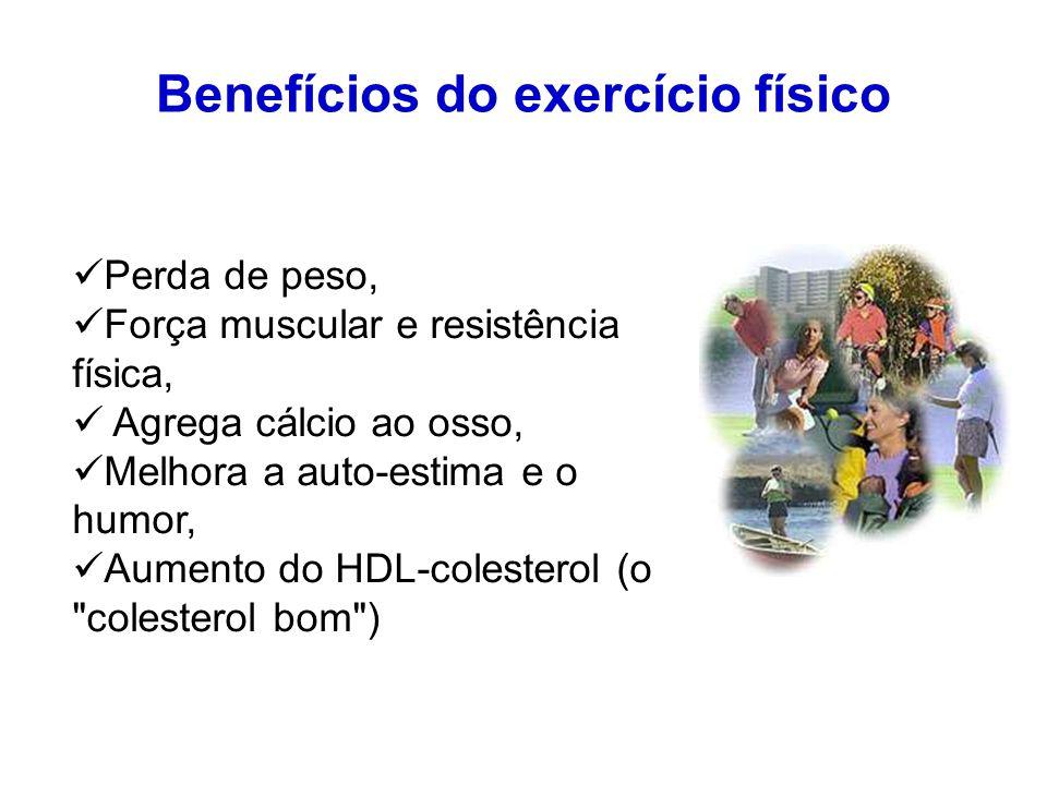Perda de peso, Força muscular e resistência física, Agrega cálcio ao osso, Melhora a auto-estima e o humor, Aumento do HDL-colesterol (o