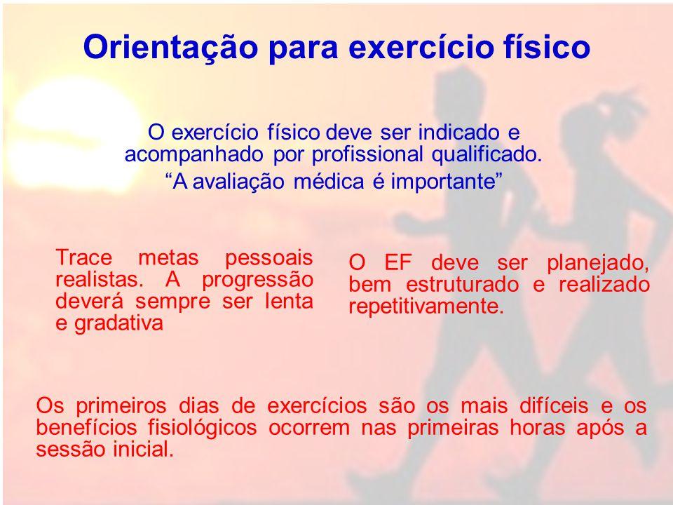 Orientação para exercício físico Trace metas pessoais realistas. A progressão deverá sempre ser lenta e gradativa O exercício físico deve ser indicado
