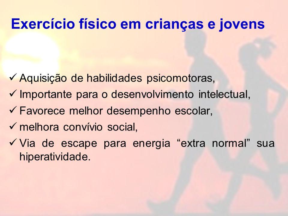 Exercício físico em crianças e jovens Aquisição de habilidades psicomotoras, Importante para o desenvolvimento intelectual, Favorece melhor desempenho