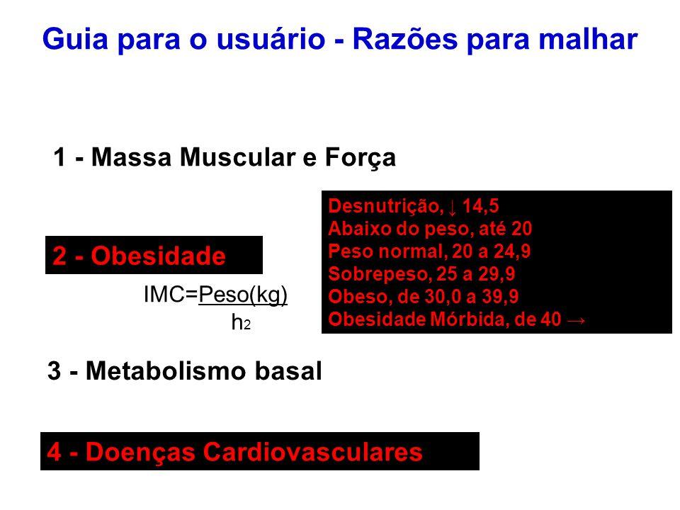 Guia para o usuário - Razões para malhar 1 - Massa Muscular e Força 2 - Obesidade IMC=Peso(kg) h 2 3 - Metabolismo basal 4 - Doenças Cardiovasculares