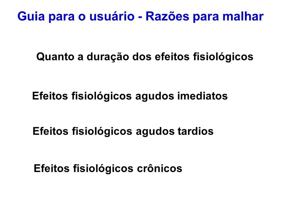 FCMax (freqüência cardíaca máxima) = 220 – idade 1 - Zona de Atividade Moderada: 50 – 60% da FCMax 3 - Zona Aeróbica: 70 – 80% da FCMax> 2 - Zona de Controle de Peso: 60 – 70% da FCMax 4 -Zona do Limiar Anaeróbico: 80 – 90% da FCMax 5 -Zona de Esforço Máximo: 90 – 100% da FCMax Guia para o usuário - Razões para malhar