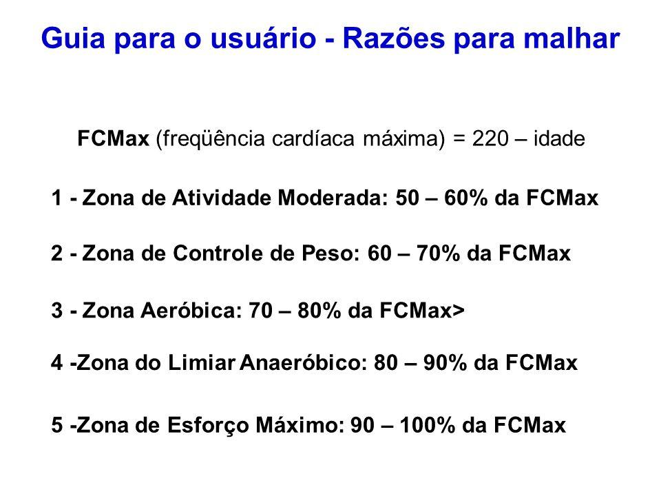 FCMax (freqüência cardíaca máxima) = 220 – idade 1 - Zona de Atividade Moderada: 50 – 60% da FCMax 3 - Zona Aeróbica: 70 – 80% da FCMax> 2 - Zona de C
