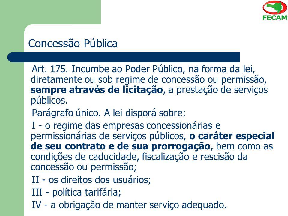 Concessões tradicionais Principais características: 1) Concessionário executa serviço público em nome próprio, por sua conta e risco; 2) Condições fixadas e alteráveis unilateralmente pelo Poder Público; 3) Garantia do equilíbrio econômico-financeiro; 4) Remuneração pela própria exploração do serviço, através da tarifa.