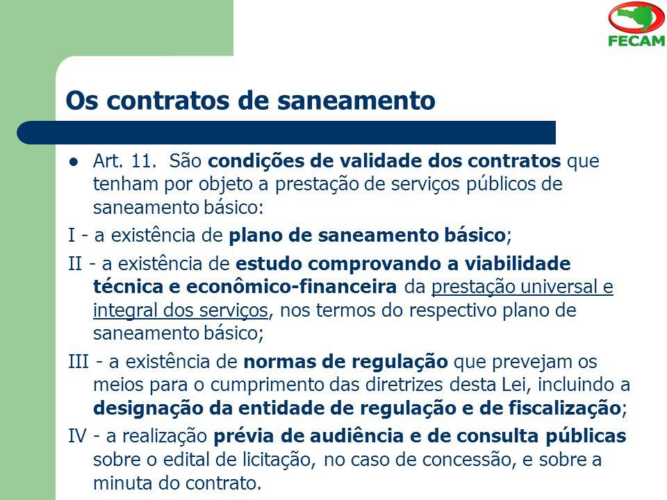 Os contratos de saneamento Art.11.