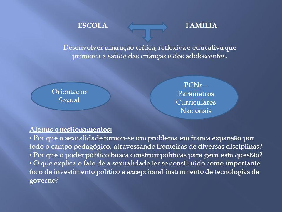 ESCOLAFAMÍLIA Desenvolver uma ação crítica, reflexiva e educativa que promova a saúde das crianças e dos adolescentes. Orientação Sexual PCNs – Parâme