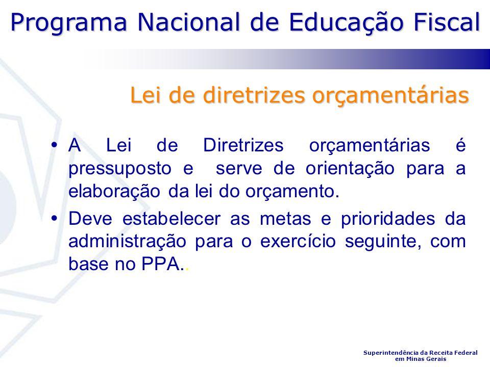 Programa Nacional de Educação Fiscal Superintendência da Receita Federal em Minas Gerais A Lei de Diretrizes orçamentárias é pressuposto e serve de or