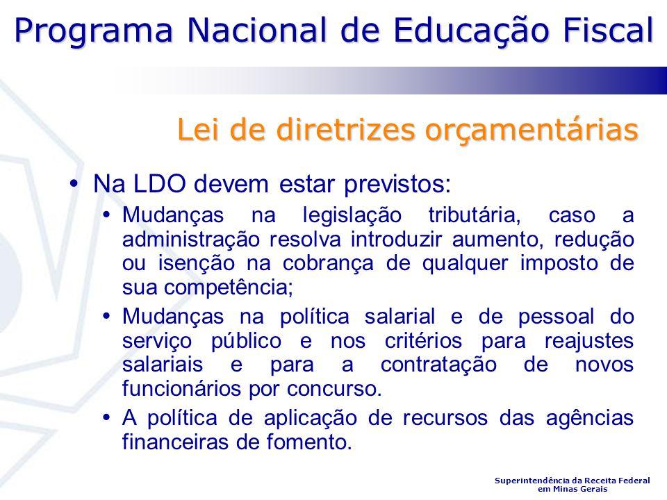 Programa Nacional de Educação Fiscal Superintendência da Receita Federal em Minas Gerais Na LDO devem estar previstos: Mudanças na legislação tributár
