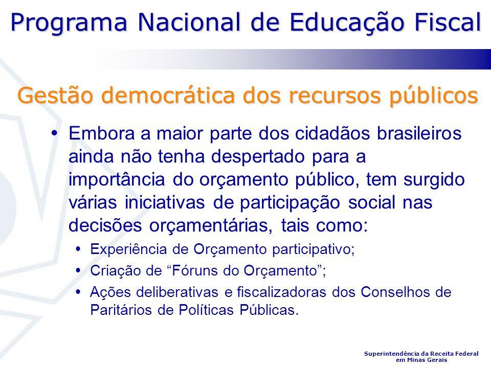 Programa Nacional de Educação Fiscal Superintendência da Receita Federal em Minas Gerais Embora a maior parte dos cidadãos brasileiros ainda não tenha