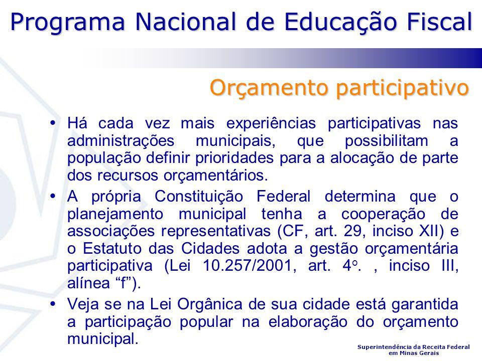 Programa Nacional de Educação Fiscal Superintendência da Receita Federal em Minas Gerais Há cada vez mais experiências participativas nas administraçõ